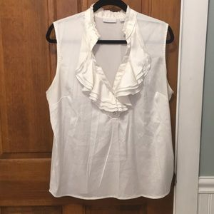 Sleeveless Ruffle Blouse. New York & Company